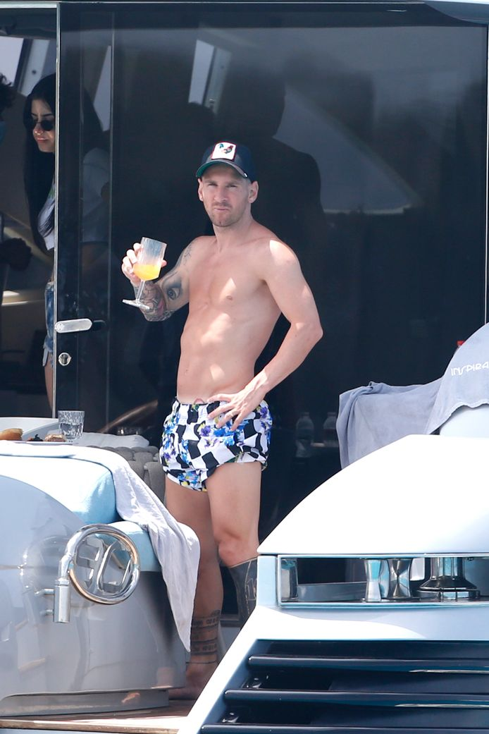 Leo Messi profite de ses vacances à Ibiza, le 30 juillet 2021.