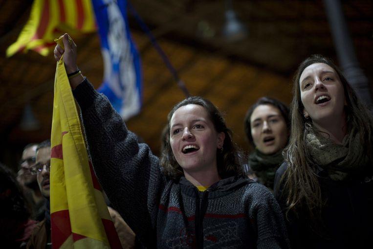 Voorstanders van een onafhankelijk Catalonië. Beeld ap