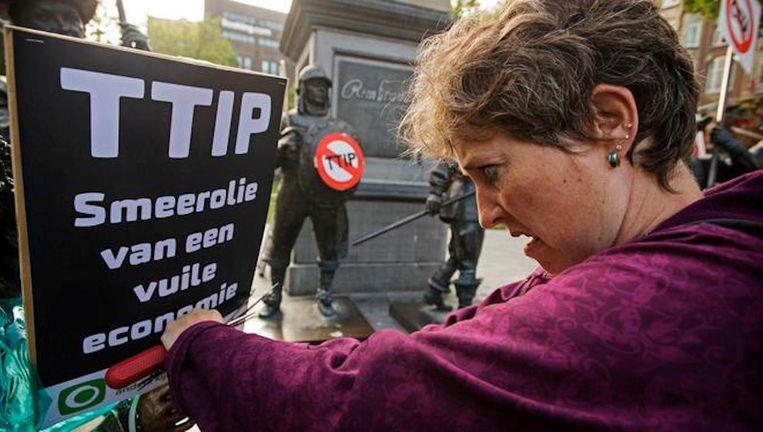 Protesten tegen TTIP vorig jaar Beeld ANP
