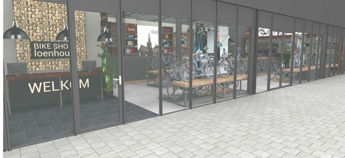 Impressie van de winkelpui van Roberto Bikes&Scooters in Etten-Leur.