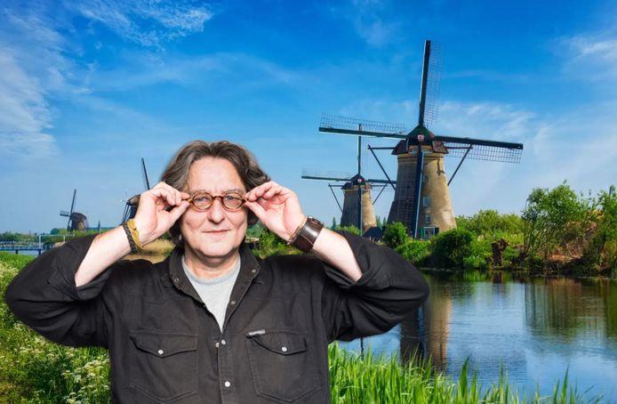 Kees Thies over Kinderdijk.