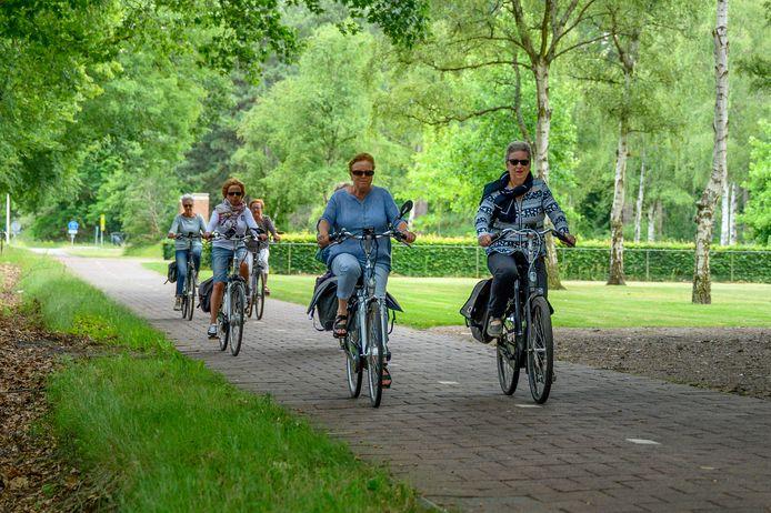 Groep fietsers op Ruytershoveweg langs A58 nabij Bergen op Zoom.