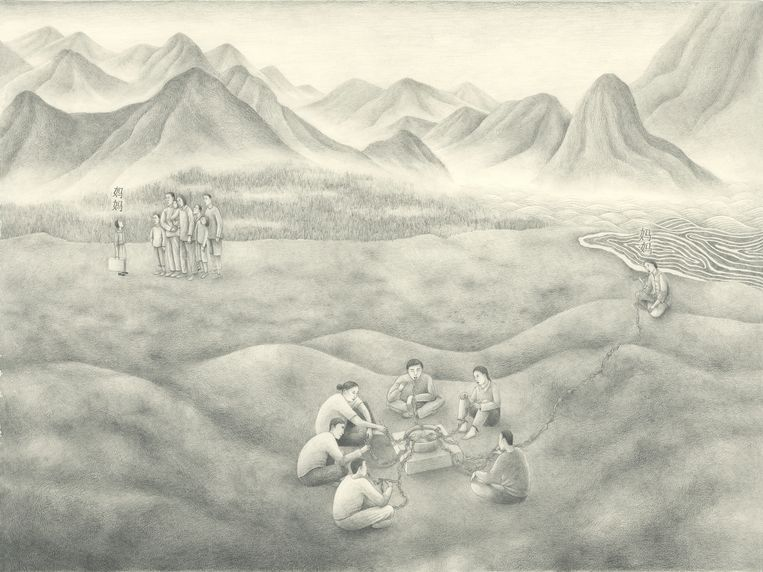 Meeting distant family, 1965-66 Quintian China van Tja Ling Hu. Beeld Amsterdam Museum