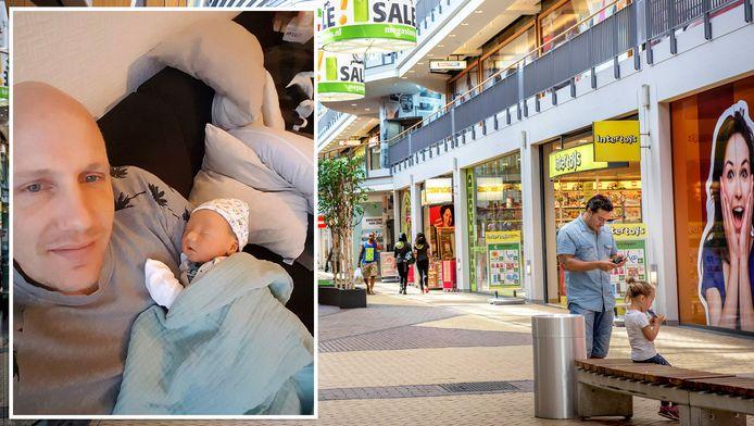Micha Privé en baby Joe. Op de achtergrond de MegaStores.
