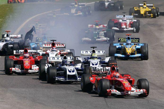 Beeld van de race op Imola in 2004. Michael Schumacher won er in totaal zeven keer.