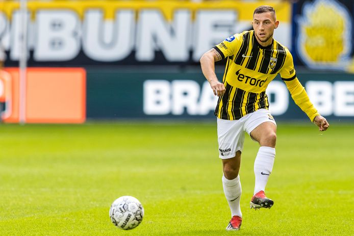 """Maximilian Wittek tijdens de wedstrijd Vitesse-Willem II. ,,We hebben nu onze fans achter ons. Dat is een voordeel."""""""
