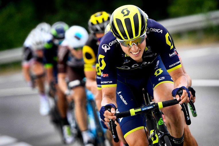 Jens Keukeleire voert de forcing in de kopgroep tijdens rit 19 van de Tour. Hij finishte toen als derde en bewees er zijn topvorm. Beeld BELGA
