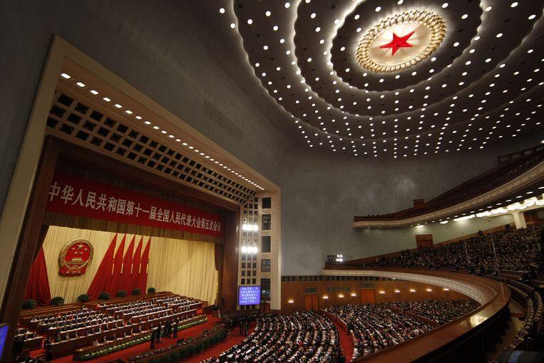 Het Chinese Volkscongres op de laatste dag. Beeld ap