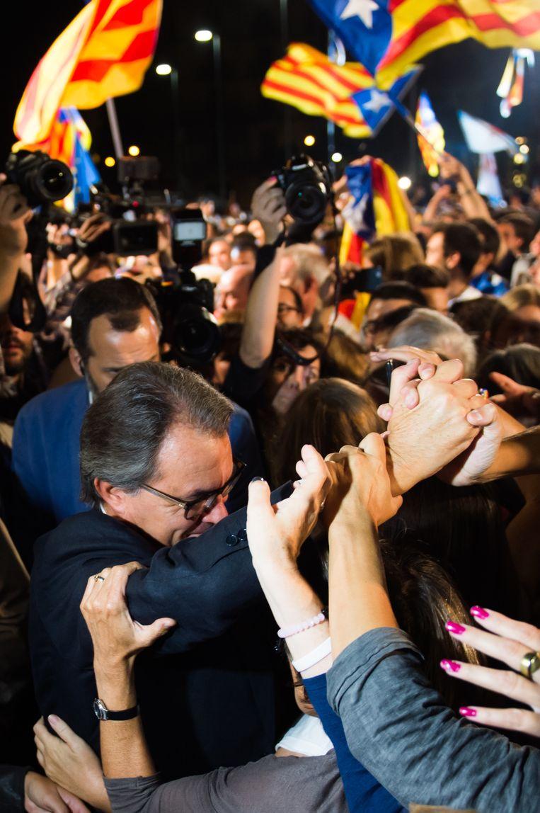 Artur Mas viert in Barcelona. Beeld GETTY
