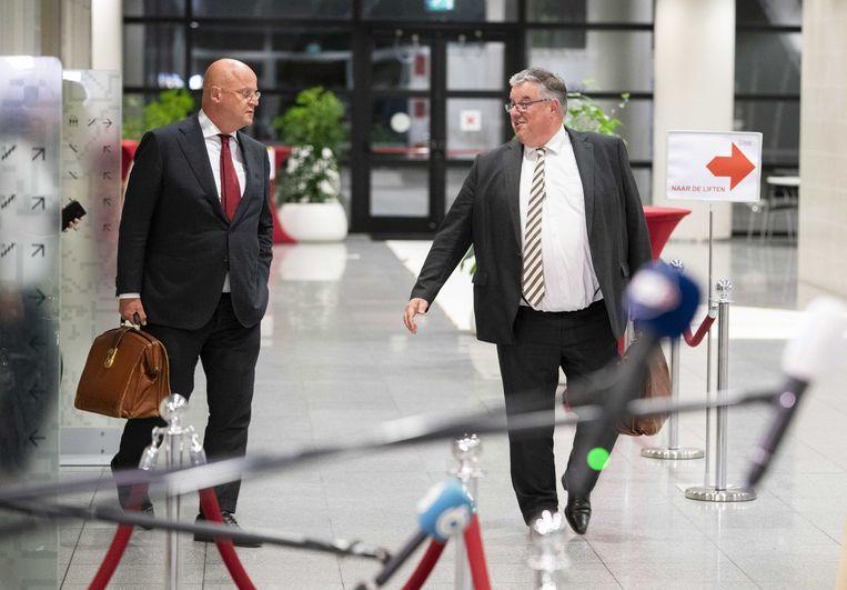 Burgemeester Hubert Bruls en minister Ferd Grapperhaus (Justitie) na afloop van een overleg over de coronamaatregelen met burgemeesters van de 25 grootste gemeenten. Beeld ANP