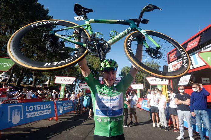 Fabio Jakobsen na de finish van de twintigste etappe in de Ronde van Spanje.
