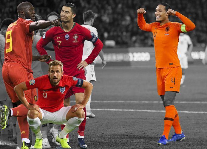 Virgil van Dijk (rechts). Inzetjes: Romelu Lukaku, Harry Kane en Cristiano Ronaldo.