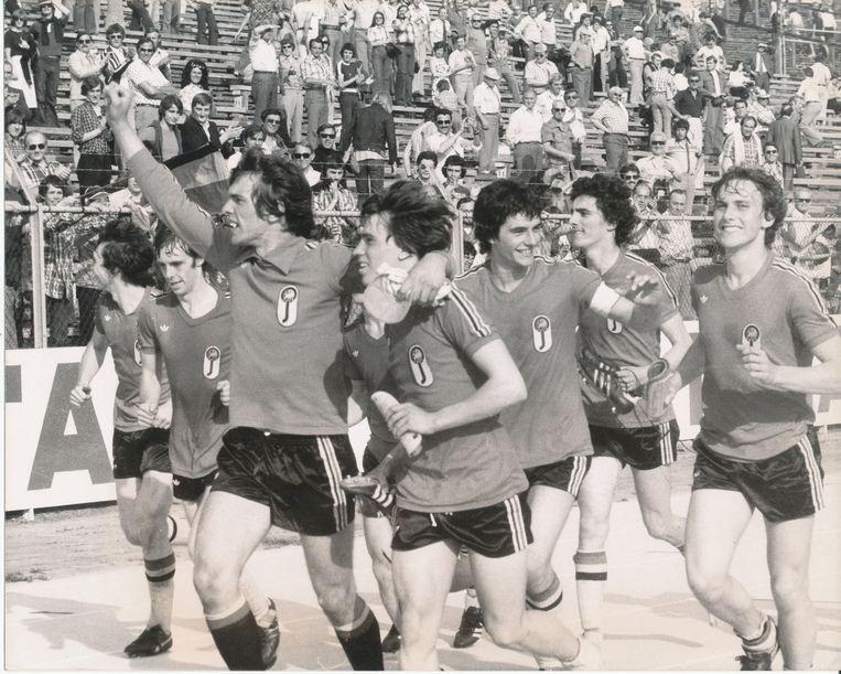 De Belgische Uefa's (onder 18) kronen zich tot Europees kampioen na 2-1-winst tegen Bulgarije op de Heizel.