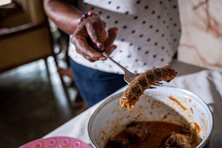 In Ivoriaanse restaurants kost een portie schubdier meer dan een bord kip of rund. Beeld Joost Bastmeijer