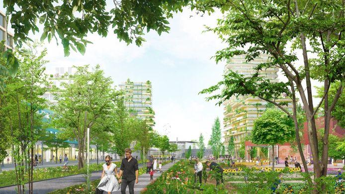 Zo zou de nieuwe wijk Stationstuinen in Barendrecht eruit kunnen gaan zien. De bouw van de duurzame woongebied met 3500 woningen kan mogelijk eind 2022 beginnen.
