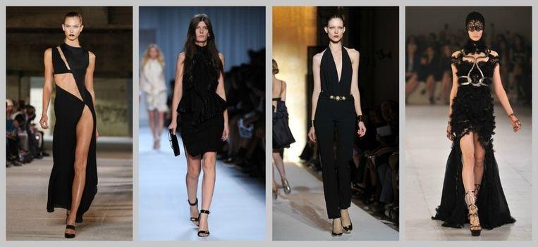 Enkele jurken die Gwyneth droeg tijdens de shoot: Anthony Vaccarello, Givenchy, Yves Saint Laurent en Alexander McQueen. Beeld UNKNOWN