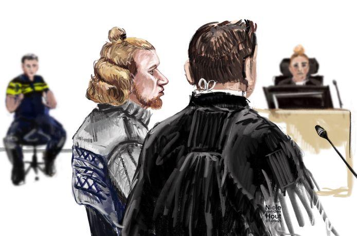 Rechtbanktekening van Jimmy de G. in de rechtbank van Haarlem. Hij wordt verdacht van het beroven van de kettingen van bejaarde vrouwen. De zaak staat ook wel bekend als die van de kettingrukker.