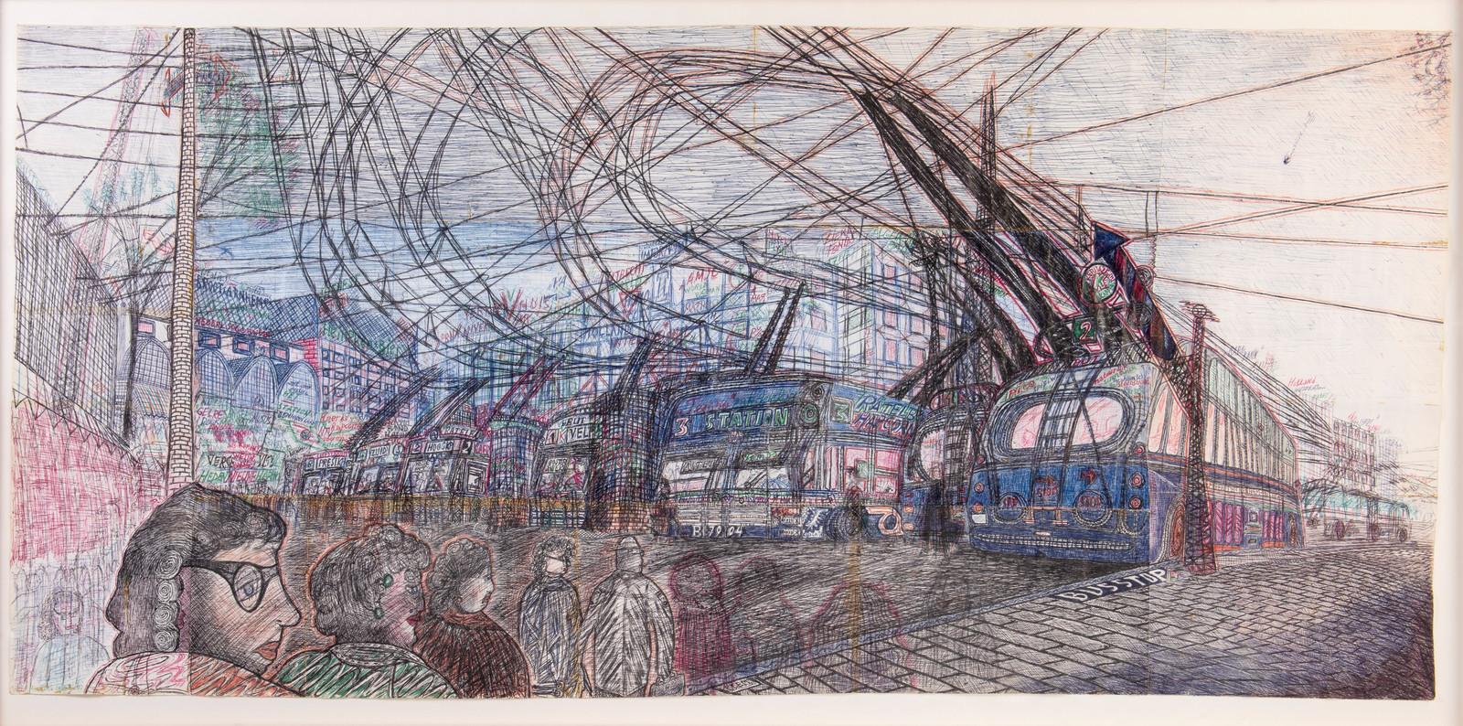 Pentekening van trolleybusstation op Stationsplein in Arnhem, gemaakt door Willem van Genk in 1996.