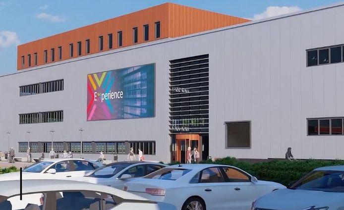 Het ontwerp voor de voorkant van de toekomstige nieuwbouw van Kampus aan de Reggesingel in Rijssen.
