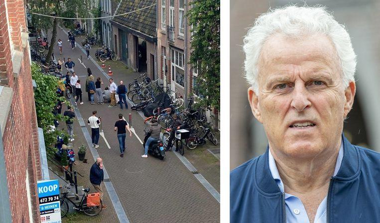 Verbijsterde omstanders in de Lange Leidsedwarsstraat, vlak na het neerschieten van Peter R. de Vries op 6 juli.  Beeld Brunopress/Parool