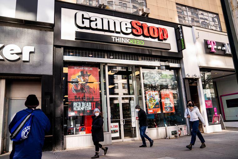 Een van de winkels van Gamestop in New York.  Beeld AP