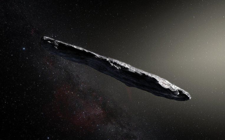 Oktober 2017: ruimterots Oumuamua scheert door het zonnestelsel, afkomstig van ver buiten het zonnestelsel.  Beeld ESO/M. Kornmesser