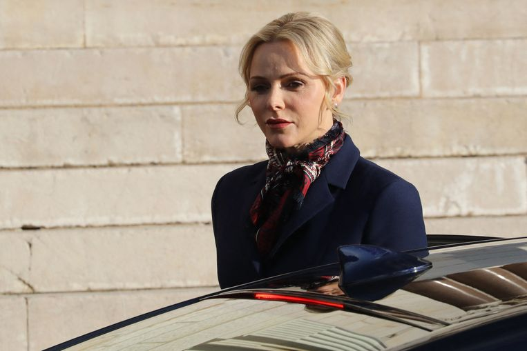 Princess Charlene of Monaco leaves the Monaco Cathedral on the second day of Sainte Devote Celebrations in Monaco on January 27, 2020.  Saint Devote is the patron saint of the Grimaldi family, reigning in Monaco, and is celebrated each year as a national holiday.   VALERY HACHE / AFP Beeld Hollandse Hoogte / AFP