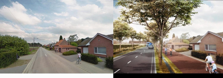 Links de bestaande Nieuwe Dreef en rechts een toekomstbeeld.