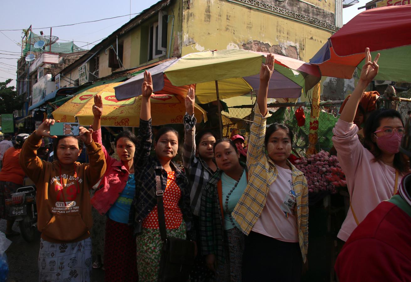Demonstranten in Myanmar.