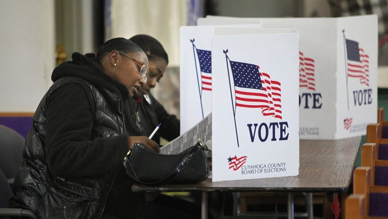 Stemmers in Cleveland, Ohio, vandaag. Beeld epa