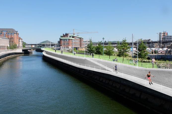 Vue des quais de la Sambre en direction de l'esplanade de la gare de Charleroi-Sud