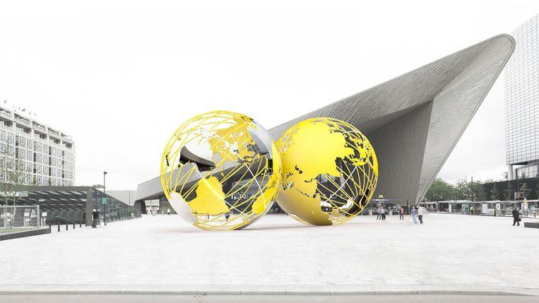 Kissing Earth van Olafur Eliasson, woensdag gepresenteerd door de gemeente Rotterdam en het Centrum Beeldende Kunst(CBK) Rotterdam. Beeld -
