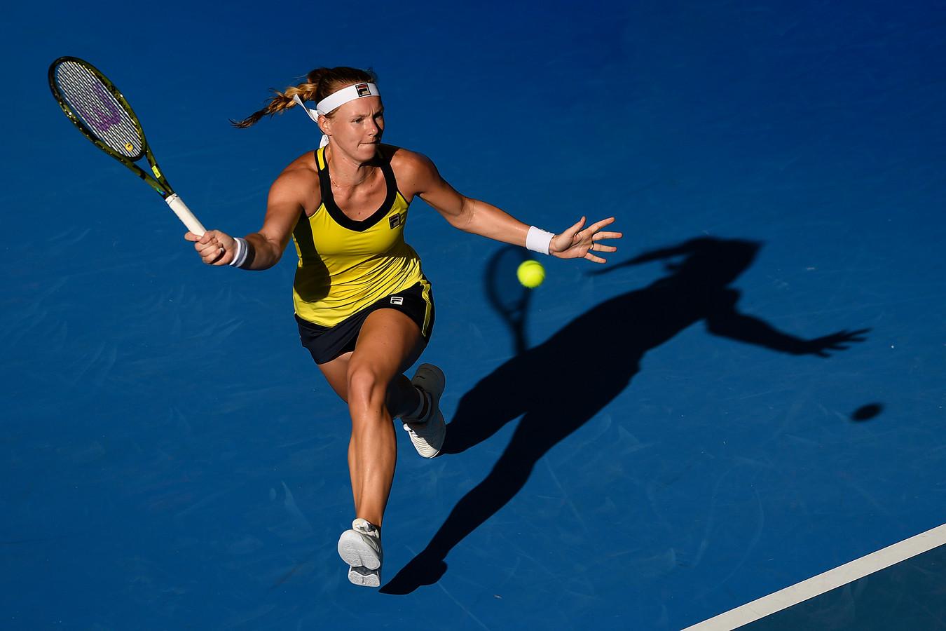 Kiki Bertens in actie in Brisbane twee weken geleden, één van de opwarmtoernooien voor de Australian Open.