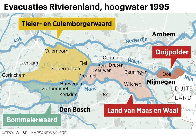 Evacuaties in 1995 in kaart gebracht.  Beeld Louman & Friso