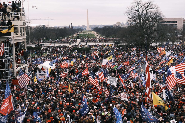 Washington D.C.: Trump-aanhangers hebben zich verzameld buiten het Capitool, 6 januari 2021. Beeld AFP