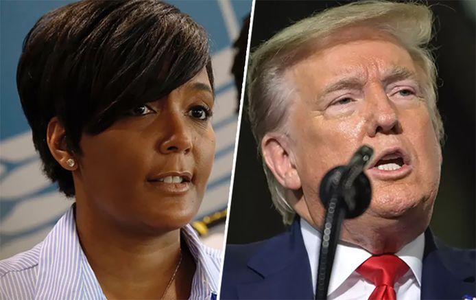 Links: burgemeester van Atlanta Keisha Lance Bottoms Rechts: president Donald Trump