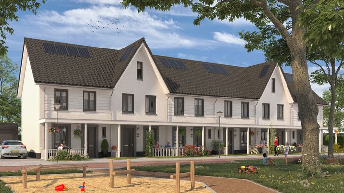 Impressie van nieuwe woningen op het Tyboschplein in Stiphout.
