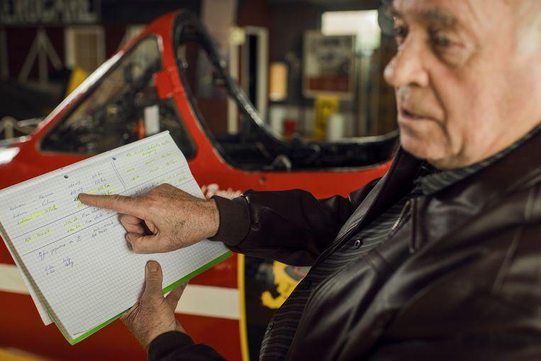 Karel Vervoort met berekening over de actieradius van de Fouga Magister Beeld Tim Coppens
