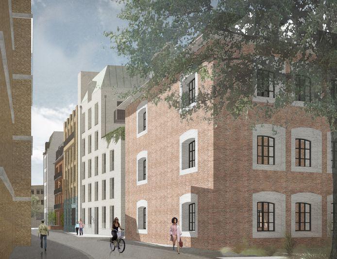 Nieuwbouw in het Zuidwalkwartier met de blauwe gevel als subtiele verwijzing naar De Gruyter.