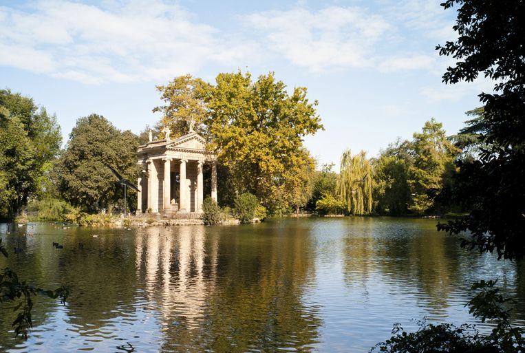 De elegante tuinen van Villa Borghese Beeld UNKNOWN