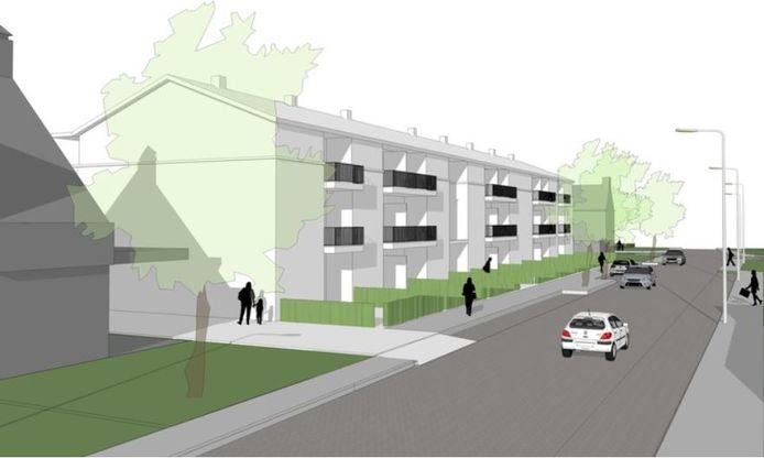 Schets van het appartementencomplex aan de Repellaan in Schaijk.