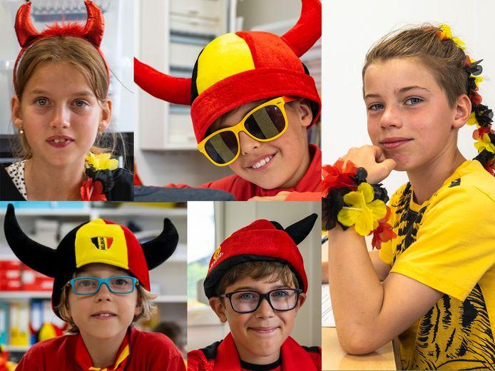 Ook in de klas zetten de kinderen hun duivelsattributen op.