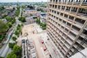 Uitzicht op de Arnhemse binnenstad vanaf een van de etages waarop penthouses worden gemaakt.