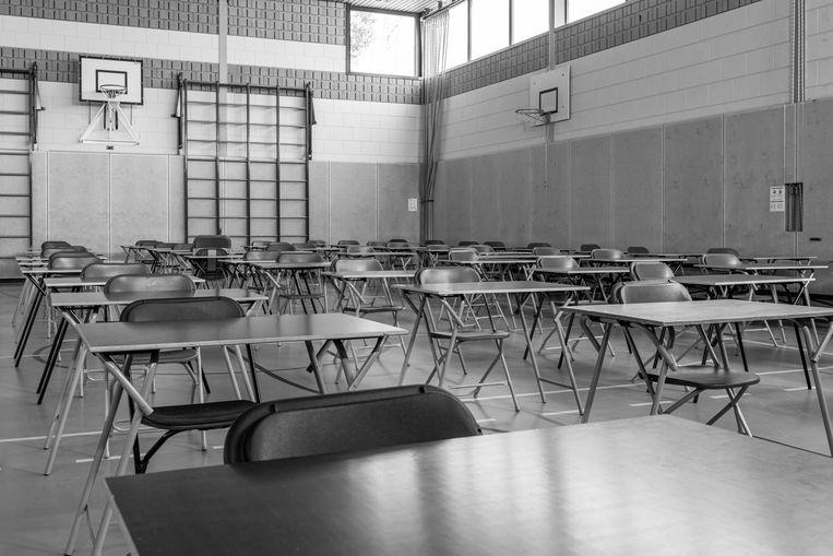 Het Kennemer Lyceum in Overveen was helemaal klaar voor de eindexamens van dit jaar. Vanwege de corona crisis zullen die niet meer plaatsvinden. Beeld null