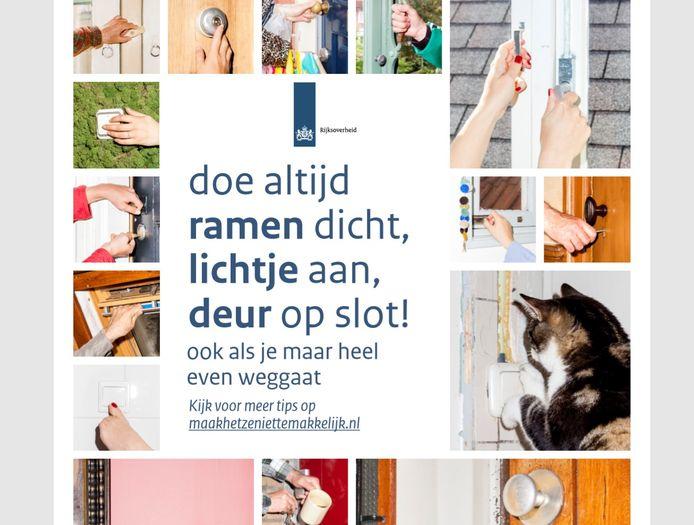 Poster van 'Maak het ze niet gemakkelijk', de landelijke campagne om inbraken te voorkomen.