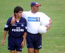 Diego Maradona junior in 2001 als jeugdspeler van Napoli.