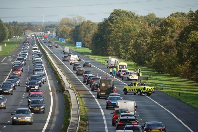 File op A1 van Barneveld naar Apeldoorn na ongeluk.