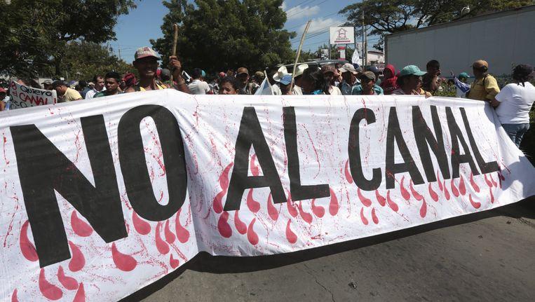 Tegenstanders hielden vorige week nog een protestmars tegen de bouw van het kanaal. Beeld REUTERS