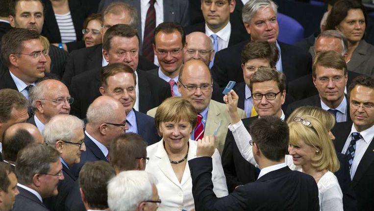 Angela Merkel in de Bondsdag vandaag Beeld reuters