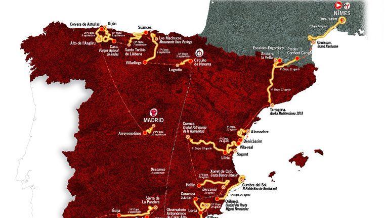 Het etappeschema van de Vuelta 2017. Beeld Vuelta